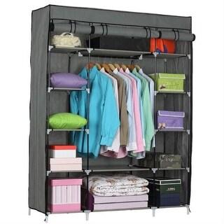 Grey 52-inch Portable Closet Wardrobe Shelving Unit