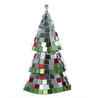 """5"""" Silver and Green Mirrored Mosaic Cone Christmas Tree Ornament"""