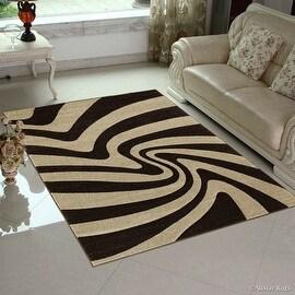 "Allstar Brown Modern Geometric Abstract Design Area Rug (3' 9"" x 5' 1"")"