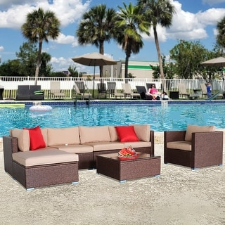 7 Pieces Wood Grain Patio PE Wicker Rattan Corner Sofa Set