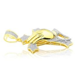 0.55cttw Diamond Cross Pendant With Praying Hands 10K Yellow Gold 55mm