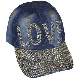 Love Sparkling Bedazzled Studded Baseball Cap Hat, Denim, Light Blue