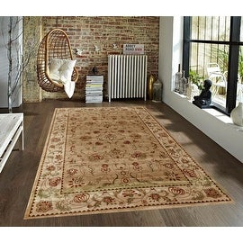 2.4x4 4x6 5x7 Beige Cream Brown Red Green Traditional Persian Floral Faux Silk Rug Carpet