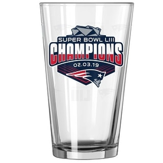 New England Patriots Super Bowl LIII 53 Champions Satin Etch 16 Ounce Pint Glass