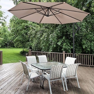 Costway 10' Hanging Umbrella Patio Sun Shade Offset Outdoor Market W/t