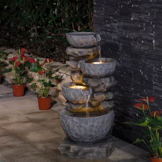 "Glitzhome 32""H Polyresin Stacked Stone Tiered Bowls Outdoor Fountain with LED Lights"
