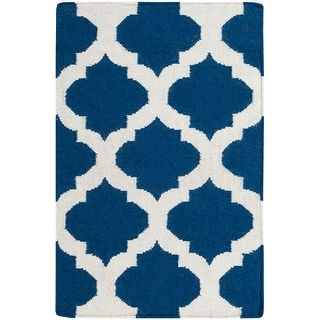 Hand-woven Contemporary Moroccan Trellis Geometric Flatweave Wool Area Rug