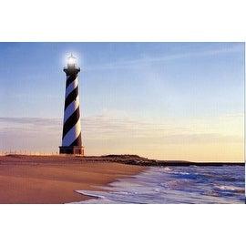 """LED Lighted Lighthouse Seaside Beach Scene Canvas Wall Art 15.75"""" x 23.5"""""""