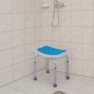 Homcom 6-Level Adjustable Curved Bath Stool Spa Shower Chair Non-Slip Design for the Elderly, Injured, & Pregnant Women