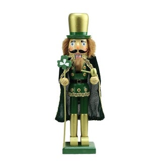 """15"""" Green and Gold Luck of the Irish Christmas Nutcracker"""