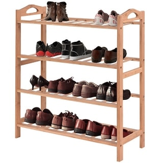 Costway 4 Tier Bamboo Shoe Rack Entryway Shoe Shelf Holder Storage