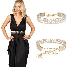 "Womens Fashion Metallic Waist Belt Wide Obi Gold Plate Chain Waistband (24"" - 34"")"