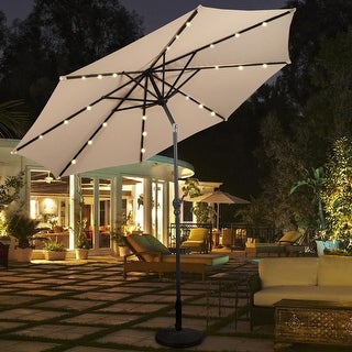 Costway 10ft Solar/LED Patio Market Umbrella with Tilt and Crank, Base Not Included