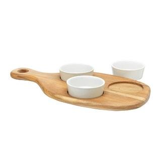 Home Essentials Tapas Serving Set - Acacia Wood Paddle Appetizer Tray with 3 Porcelain Bowls - White Ramekin Set