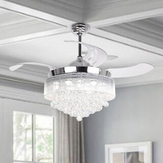 Modern 46-inch Foldable 4-Blades LED Ceiling Fans Crystal Chandelier