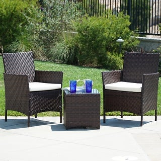 BELLEZE 3Pcs Patio Wicker Furniture Set 2 Chairs 1 Glass Table, Brown - standard