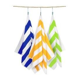 """Classic Cabana Stripe Oversize Beach Cotton Towel 30""""x70"""" 6 Piece Set"""