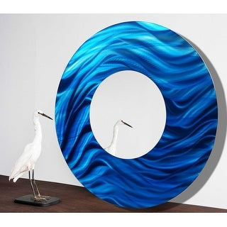 Statements2000 Blue Metal Wall Art Mounted Mirror Abstract Accent Decor by Jon Allen - Mirror 117