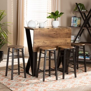 Richard Industrial and Rustic 5-Piece Pub Set with Extendable Tabletop