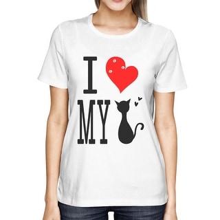 Men's Cute Graphic Statement T-Shirt - I Love My Cat White Graphic Tee