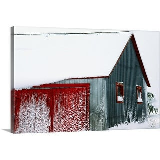"""Snow Covered Barn"" Canvas Wall Art"