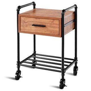 Costway 2-Tier End Coffee Table Nightstand Sofa Side Living Room Furni W/Drawer &Wheels