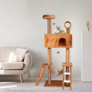 """Kinpaw 69"""" Large Cat Tree Tower, Multi-Level Cat Tree Condo Furniture w/ Scratching Posts, Kitten Activity Center - BROWN"""