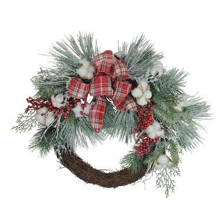 Plaid Glittered Cotton and Holly Berry Artificial Christmas Wreath - 24-Inch, Unlit