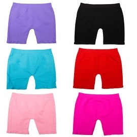 Girls' 6 Pack Seamless Solid Color Short Leggings