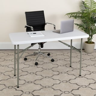 4-Foot Granite White Plastic Folding Table - Banquet / Event Folding Table