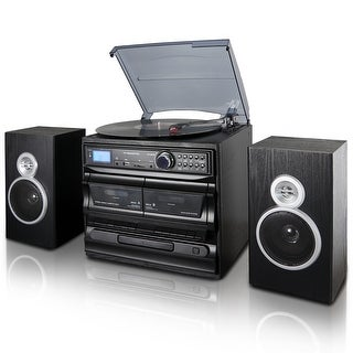 Trexonic 3-Speed Turntable With CD Player, Dual Cassette Player, BT, FM Radio USB/SD Recording and Wired Shelf Speakers