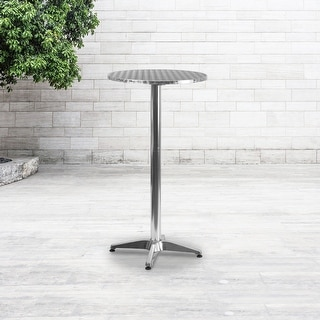 """2-Foot Round Aluminum Indoor-Outdoor Folding Bar Height Event Table - 23.25""""W x 23.25""""D x 45""""H"""