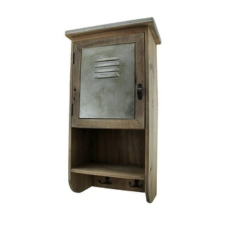 Rustic Reclaimed Wood Wall Cabinet w/Shelf and Hooks 20 in. - 20 X 9.5 X 6 inches