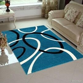 "Blue AllStar Rugs Floral Design Modern Geometric Area Rug (5' 2"" x 7' 2"")"