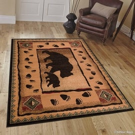 """Brown Mama Bear with Cub with Paw Prints Area Rug (5' 2"""" x 7' 2"""")"""