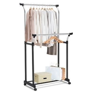 Costway Double Rail Adjustable Garment Rack Rolling Clothes Hanger