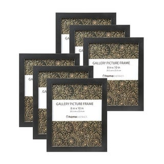8 x 10 Inch Picture Frame Set 6 Pack, Easel Back Stand & Wall Mount Horizontal & Vertical with Glass, 6 Pieces, Black