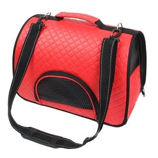 Outdoor Travel Soft Faux Leather Meshy Double Sided Zipper Pet Carrier Bag Red - M