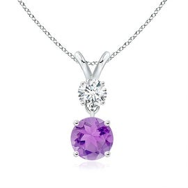 Two Stone Round Diamond and Amethyst Pendant Necklace in 14K White Gold(6mm Amethyst)