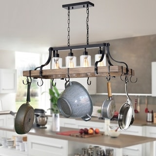 Blakes 4-light Faux-Wood Metal Kitchen Island Chandelier with Pot/Pan Hooks and Seeded Glass Shades