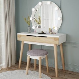 Vanity Set with Lighted Mirror Dressing Table 2 Drawers and Stool