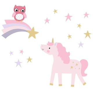 Bedtime Originals Rainbow Unicorn with Owl and Stars Pink/Gold Wall Decals