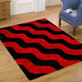 """AllStar Rugs Red Shaggy Area Rug with 3D Black Wavy Design. Contemporary Formal Tween Hand Tufted (7' 6"""" x 10' 5"""")"""