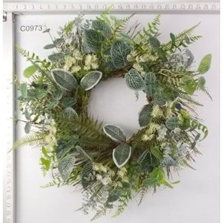 Ivy and Fern Spring Floral Wreath, Green 22-Inch