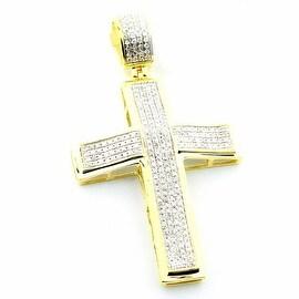 10K Gold Cross 0.6cttw Diamonds Pave Set 44mm Tall( 0.6cttw)