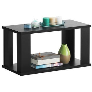 Gymax 2-Tier Modern Rectangular Accent Cocktail Table Black Bedroom