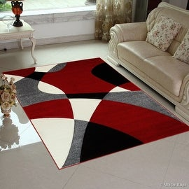 "AllStar Rugs Red Modern Geometric Formal Abstract Design Area Rug (7' 9"" x 10' 5"")"