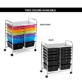 Gymax Office Rolling Cart 12 Storage Drawer Studio Organizer Bins Scrapbook Paper Black Colorful
