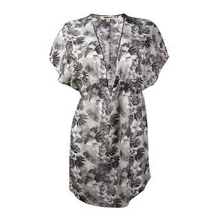 Miken Women's Tropical Floral V-Neck Chiffon Swim Cover