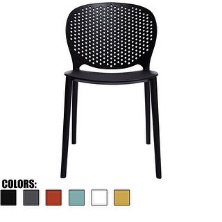 2xhome Black Modern Plastic Garden Patio Indoor or Outdoor Dining Stackable Chair UV Protected Armless with Back